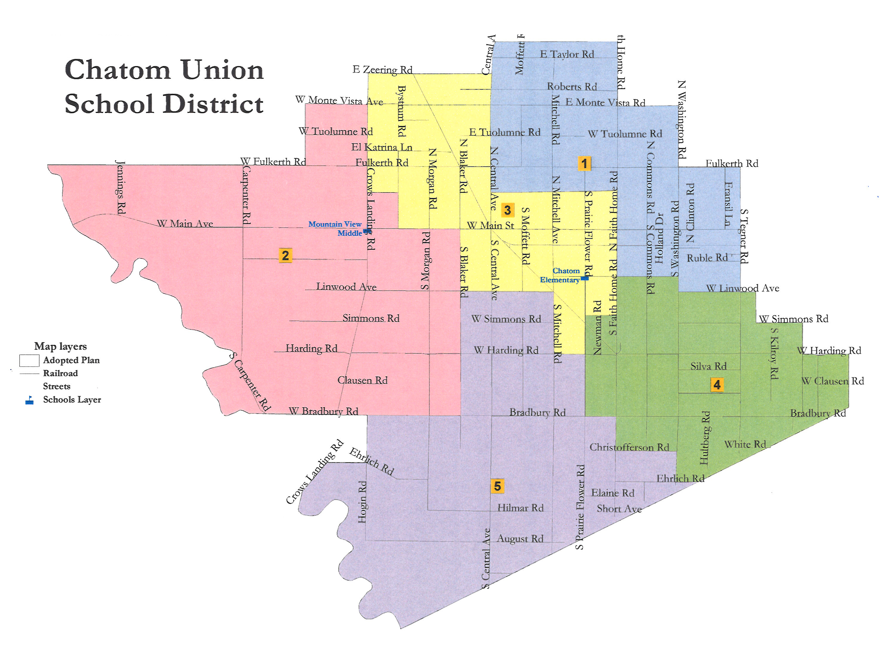 Chatom School District Boundary and Board Member Areas